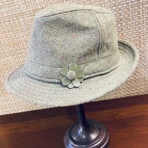 NWOT DNY Mint Green Tweed Wool Fedora Hat OS